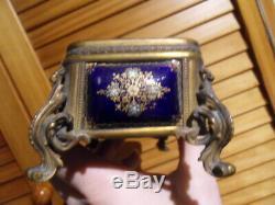 Ancienne Boite Coffret Bijoux Deco Cuivre Emaille Monte Bronze Napoleon III