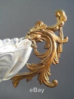 Ancienne Coupe verre vasque oblong piédouche bronze doré Chimères Napoléon III