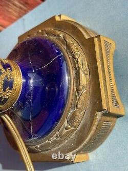 Ancienne Et Superbe Lampe En Bronze Et Faience Napoleon III
