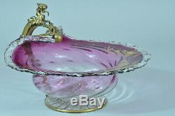 Ancienne Grande Coupe Cristal Rose Dragon Bronze Viardot Edoiuard LIèvre 19e