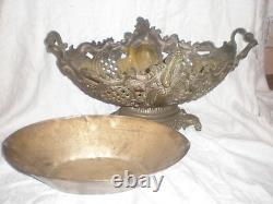 Ancienne Grande Jardiniere Cache Pot Centre De Table En Bronze Ajoure XIX Eme