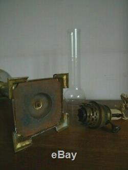 Ancienne Grande Lampe A Petrole Verre Emaille Marbre Debut XX Siecle