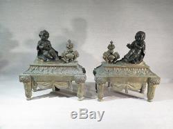 Ancienne Paire Chenets Enfants Frileux En Bronze Style Louis XVI Second Empire