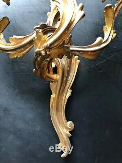 Ancienne Paire D'appliques En Bronze Doré Style Louis XV Rocaille Napoleon III