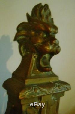 Ancienne Paire De Portes Barre Cheminée Chenets Bronze Louis XIV N III D1011