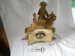 Ancienne Pendule Horloge Bronze Doré Empire Napoléon III / Pendulum Clock