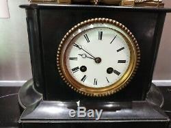 Ancienne Pendule, Horloge, Bronze, Napoleon Iii, Socle Marbre, Femme Au Chien, Xixeme