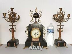 Ancienne Pendule Horloge mécanique MARTI Bronze Marbre Napoléon III Candélabres