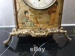Ancienne Pendule, Napoleon Iii, Xixeme, Bronze Dore, Decor Laque De Chine, Bambou