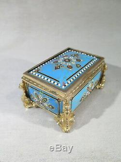 Ancienne Petite Boite Coffret Bijoux Email Rehausse Or Monte Bronze Napoleon III
