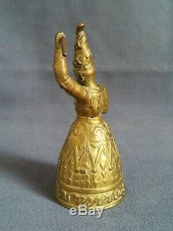 +++ Ancienne clochette table bronze tête amovible mage antique figural bell 19th