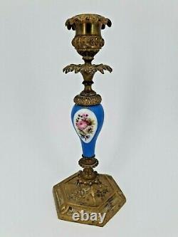 Ancienne paire de bougeoir en bronze et porcelaine de Paris Napoléon III