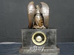Ancienne pendule borne en marbre et bronze XIXème, garniture de cheminée, clock