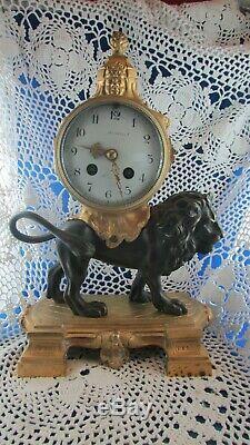 Ancienne pendule bronze doré lion XIXe napoleon III mantel clock 2e empire
