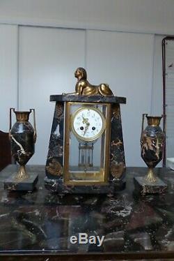 Ancienne pendule en marbre et bronze dépoque Napoléon III, garniture de cheminé