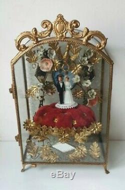 Antique Globe marié Napoléon 3 vitrine verre laiton bronze miroirs antic ancien