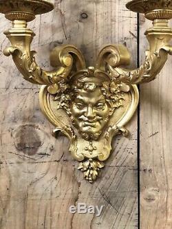 Applique Tête Bachus Dionysos Bronze Doré Napoléon III Ancien Louis XV Lampe