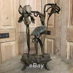 Art Nouveau Bronze Polychrome Support Vase Héron Japonais Japonisant Napoléon 3