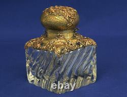 BACCARAT Encrier Cristal & Bronze Style Rocaille Epoque Napoléon III XIXème