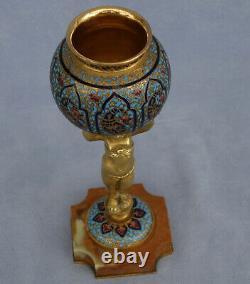 BARBEDIENNE Brûle Parfum Amour Bronze Doré et Cloisonné Napoléon III Fin XIXème