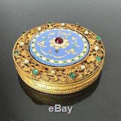 BOITE Email Emaux Bronze Perles XIXè Victorian Enamel Kiln Fired BOX 19thC