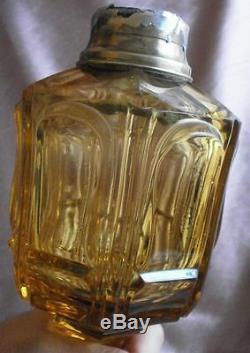 Baccarat Pied de lampe à pétrole XIXème cristal moulé & bronze brun orangé RARE