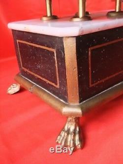 Balance ancienne bois noircie bronze Napoléon III poids coffret patte de lion
