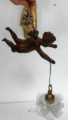 Belle APPLIQUE ancienne BRONZE angelot rosace XIXème