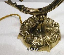 Belle LAMPE de BUREAU ancienne bronze et laiton XIXème siècle décor fleurs