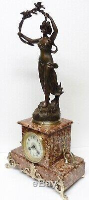Belle PENDULE Napoléon III XIXè marbre bronze statue régule femme oiseaux clock
