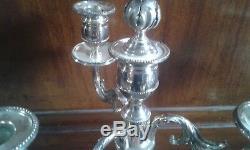 Belle Paire De Candelabres De Table En Bronze Argente A Quatre Feux Haut 43 CM