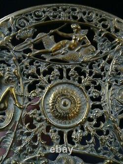 Belle Paire De Coupes Présentoirs Ajoures Bronze Décor De Dieux Grecs Superbes