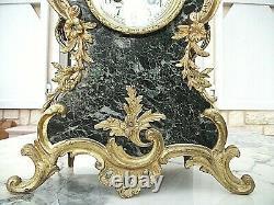 Belle Pendule Napoleon Iii-bronze Dore Et Marbre+cherubin Musicien-bon Etat