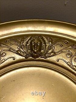 Belle coupe bronze redoré décor mascarons végétaux Napoléon III, dlg Barbedienne