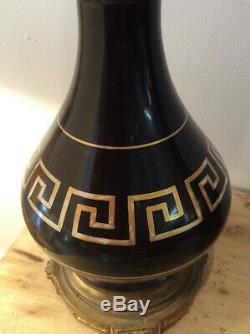 Belle paire de lampes à pétrole Napoléon III decor à la grecque