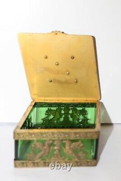 Boîte Coffret à Bijoux Cristal Vert Bronze Doré Ciselé Napoleon III Rare Ancien