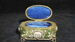 Boite Napoleon III Avec Miniatures Paris Cloisonné Bronze Et Laiton Doré A615