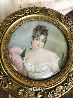 Boîte Ronde D'époque Napoléon III En Bronze Et Peinture De Joséphine Signée