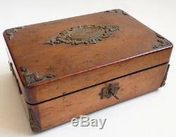 Boite à bijoux en bois et bronze + soie 19e siècle 19th century jewel box