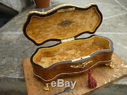 Boite à gants coffret ancien bois marqueterie bronze Napoléon III XIXème
