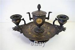 Bougeoir Encrier Bronze Argenté signé ROTTI Art Nouveau XIX ème
