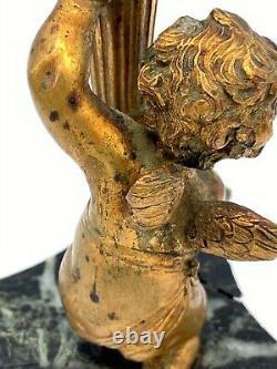 Bougeoir Napoleon III Decor D Ange Amour Portant Un Fut A Palmettes M182
