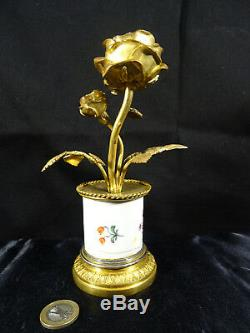 Bougeoir bronze et faience Napoléon III rose