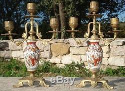 -Bougeoirs Paire de Candélabres Satsuma monté Bronze antique Candleholders
