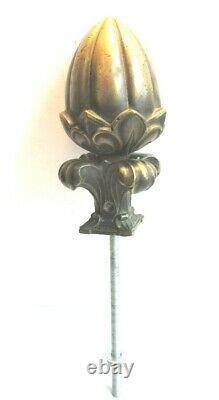 Boule d'escalier bronze massif doré Napoléon III Feuilles et fleurs de lys