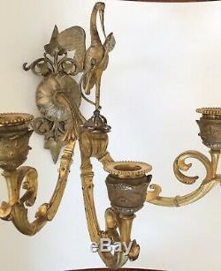 Bronze Applique Sconce Ibis Tortue Serpent Antoine-Louis Barye Napoleon III