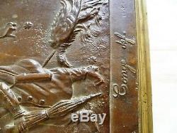 Bronze NAPOLEON III EMPEREUR Plaque Satirique Congé Définitif Guerre 1870-1871