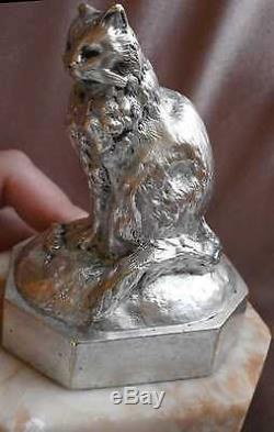 Bronze argenté animalier XIXème Le Chat et la Souris Socle marbre