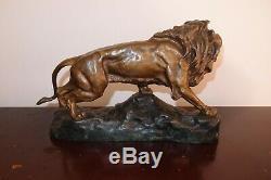 Bronze de Jean-Baptiste Descamps Lion Rugissant XIXème