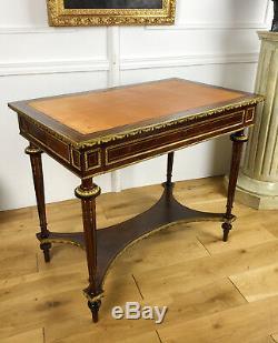 Bureau D'époque Napoléon III I En Marqueterie Dessus Cuir De Style Louis XVI